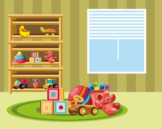 Giocattoli della stanza della scuola materna sul tappeto