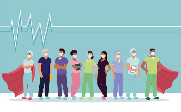 Mantelli di eroi sanitari del team di infermieri