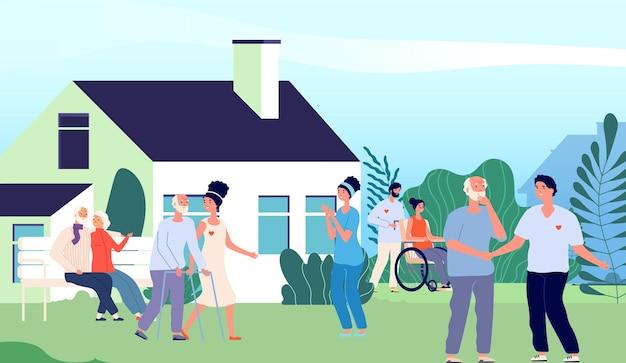 Casa di riposo. anziani che camminano nel cortile con volontari e infermiere. pensione nel paesaggio del sobborgo. felice donna anziana uomo all'aperto illustrazione vettoriale. persone anziane, donne e uomini che allattano