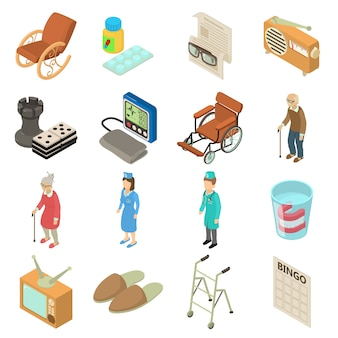 Set di icone di casa di cura. un'illustrazione isometrica di 16 icone di vettore della casa di cura per il web