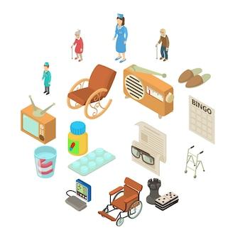 Set di icone di casa di cura, stile isometrico