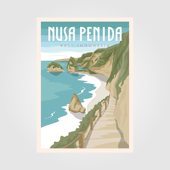 Nusa penida bali beach vintage travel poster, bali wall art poster background