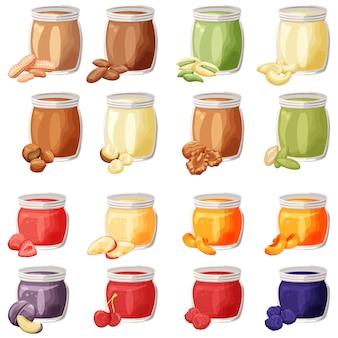 Burro di noci e sapori di frutta in vasetti di cartone animato, diversi tipi di frutta e noci, illustrazioni colorate.