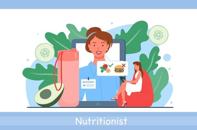 Illustrazione di vettore online di appuntamento medico nutrizionista. dietista donna dei cartoni animati e personaggi pazienti che parlano della lista di controllo del piano dietetico nutrizionale con verdure, frutta tramite sfondo app telefono
