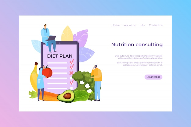 Consulenza nutrizionale, illustrazione del piano dietetico. il personaggio dei cartoni animati della gente di medico consulta il paziente circa il pasto fresco, insegna