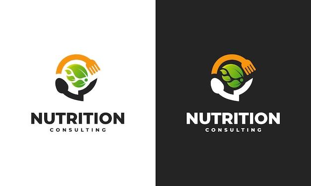 Il logo della consulenza nutrizionale progetta il vettore del concetto, il modello di progettazione del logo food talk, il simbolo dell'icona