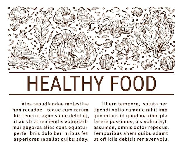 Nutrizione e dieta, mangiare cibo sano. cavoli e foglie di insalata, ingredienti biologici e menu vegetariano. broccoli per equilibrare e disintossicare. schizzo monocromatico contorno, vettore in stile piatto