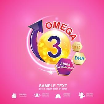 Prodotti con logo nutrition omega 3 e vitamin concept per bambini