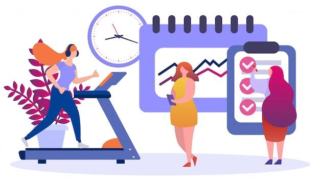 Programma di nutrizione e sport per perdita di peso della donna, illustrazione. concetto di cibo e stile di vita sano, cartone animato equilibrato