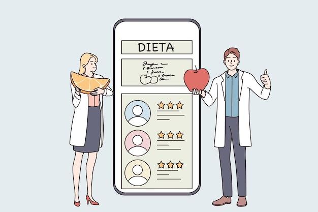 Concetto di consultazione del servizio online nutrizionista