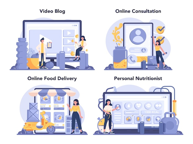 Servizio online di nutrizionista o set di piattaforme