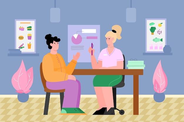 L'ufficio dei nutrizionisti con il medico consulta l'illustrazione vettoriale del fumetto del paziente