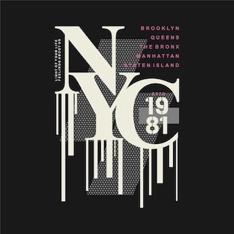 Illustrazione di design tipografia lettering nyc per maglietta stampata