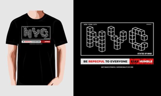 Design della maglietta tipografia nyc vettore premium