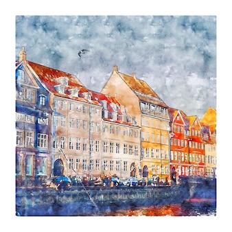Illustrazione disegnata a mano di schizzo ad acquerello di nyhavn kobenhavn danimarca
