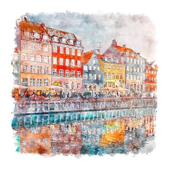 Illustrazione disegnata a mano di schizzo dell'acquerello di nyhavn kobenhavn danimarca