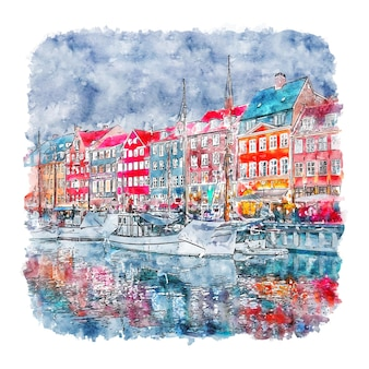 Disegnato a mano di schizzo dell'acquerello di nyhavn kobenhavn danimarca