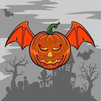 O lanterna zucca con ali di pipistrello nell'illustrazione