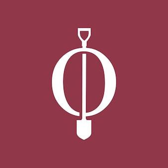 O lettera pala vanga logo icona vettore illustrazione