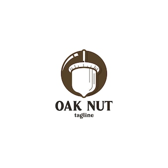Concetto di logo di dado di quercia