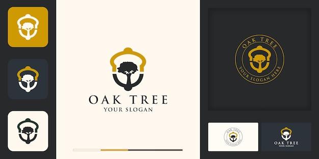 Design del logo della quercia, albero all'interno di una ghianda e design del biglietto da visita