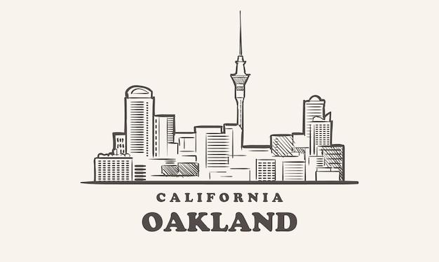 Schizzo disegnato di oakland skyline california