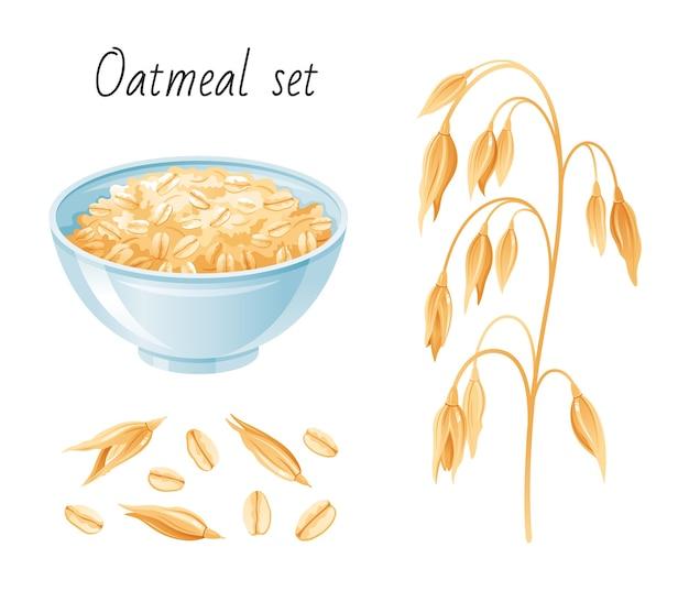 Set di farina d'avena. ciotola, fiocchi d'avena. tazza da colazione con porridge di avena, muesli, semi. stile cartone animato.