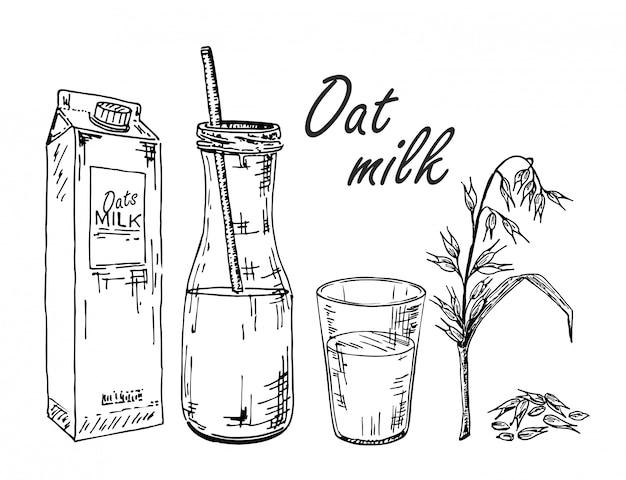 Latte d'avena. schizzo di latte vegetale. latte di avena in un sacchetto, in una bottiglia, in un bicchiere.