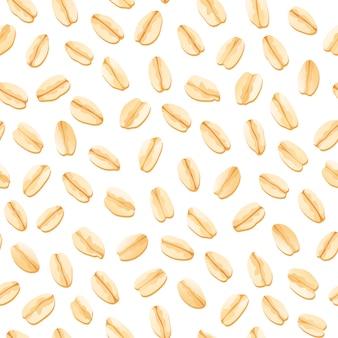 Seamless pattern di avena. illustrazione vettoriale di farina d'avena modello isolato fiocco di porridge. set di muesli di cereali del fumetto.