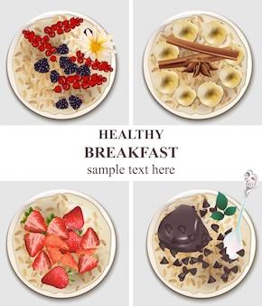 Set di vasetti di farina d'avena. prima colazione sana con frutti di bosco, cioccolato, banana illustrazioni vettoriali