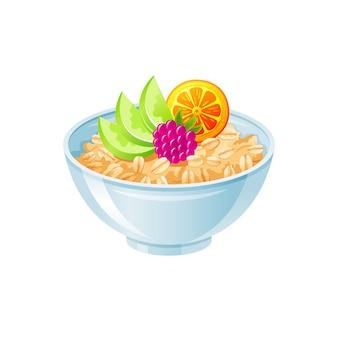 Ciotola di avena. farina d'avena dolce con frutti di bosco, frutta. tazza colazione sana, porridge di farina d'avena.