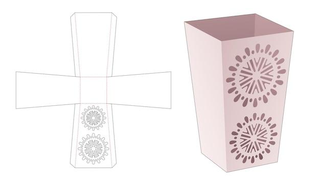 Scatola di cancelleria obelisco con modello fustellato mandala stencil