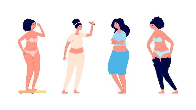 Donne obese. ragazze in sovrappeso depresse tristi.