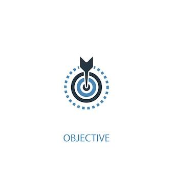 Concetto obiettivo 2 icona colorata. illustrazione semplice dell'elemento blu. disegno di simbolo di concetto oggettivo. può essere utilizzato per ui/ux mobile e web