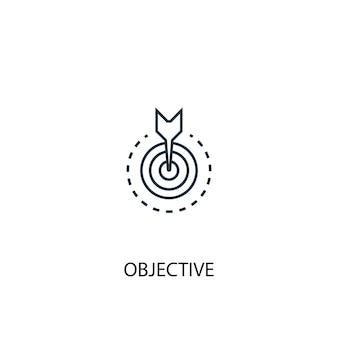 Icona della linea di concetto obiettivo. illustrazione semplice dell'elemento. disegno di simbolo di contorno di concetto obiettivo. può essere utilizzato per ui/ux mobile e web