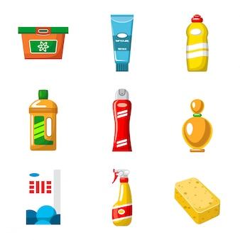 Oggetti di prodotti chimici domestici isolati