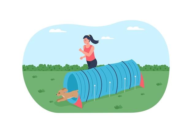 Percorso ad ostacoli per cani da addestramento poster banner web 2d