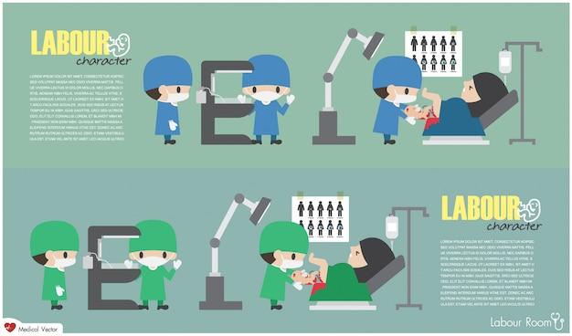L'ostetrica consegna un bambino e le infermiere preparano uno scaldino raggiante