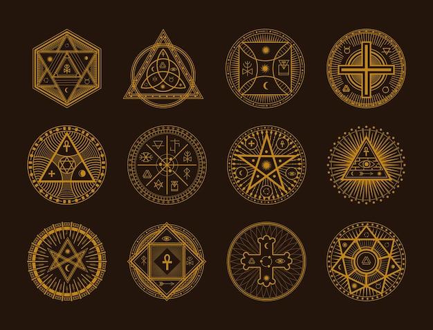 Segno occulto simbolo esoterico ornamento tatuaggio spirituale mistico. set di forma di contorno di insegne di confine mistico di vettore d'oro, illustrazione di vettore di cornice di stregoneria sacra isolata su sfondo nero