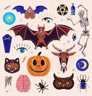 Occultismo impostato con personaggi magici. capra, zucca, gatto, scheletro, scarabeo, gufo, ragno e altri simboli.