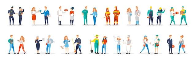 Set di occupazione. raccolta di coppia di persone in varie uniformi