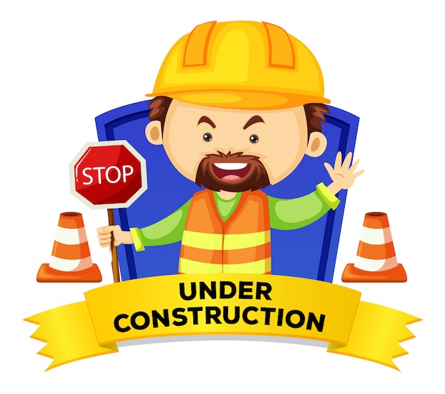Wordcard di occupazione con la parola in costruzione