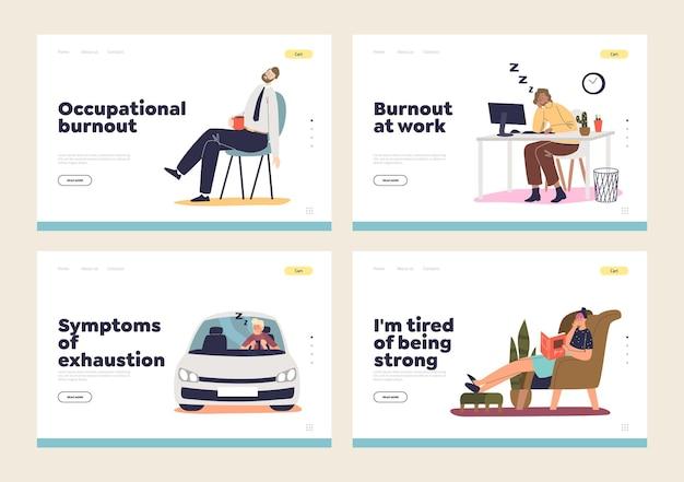 Burnout professionale e concetto di stanchezza di una serie di pagine di destinazione con persone esauste che dormono