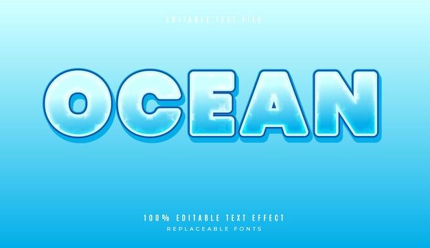 Effetto di testo modificabile in stile oceano 3d