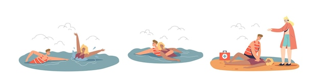 Situazione di emergenza sulla spiaggia dell'oceano impostata con salvataggio di bagnino professionale e primo soccorso per la turista che affonda mentre nuota in mare. cartoon piatto illustrazione vettoriale