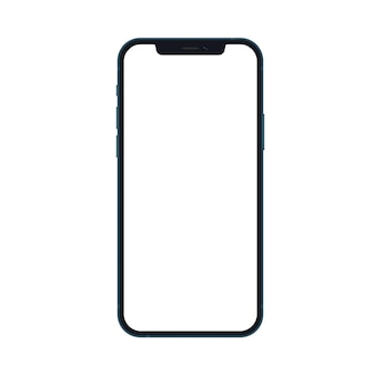 Modello realistico del telefono dello smartphone di nuova generazione blu oceano isolato