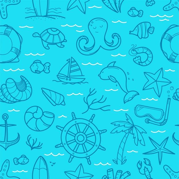 Sfondo blu oceano senza soluzione di continuità. scarabocchio