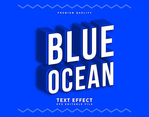Ocean clean 3d carattere o carattere blu e bianco, con forte effetto carattere.