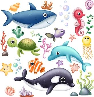 Clipart dell'oceano con abitanti sottomarini
