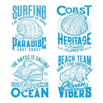 Stampe retrò di t-shirt con conchiglie della costa dell'oceano. club di surf, immersioni subacquee e snorkeling, abbigliamento per le vacanze estive, stampa vettoriale schizzo con mollusco capesante calico, turbante sudafricano e conchiglia